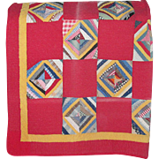 Hand-Made Vintage Patchwork Quilt with Turkey Red
