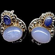 Sajen Sterling and Blue Chalcedony Pierced Earrings