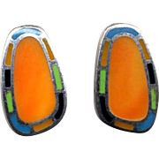 Sterling Silver Earrings with Stone Inlay Work