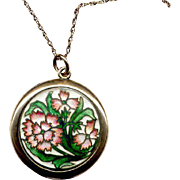 Vintage Rose-Gold-Filled Locket with Enamel Decoration