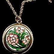 Vintage Rose-Gold-Filled Locket with Enamel Decoration