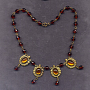SALE Costume Bead Necklace with Foil-Back Stones