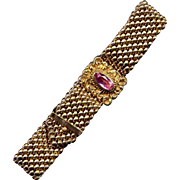 Victorian Gold-Filled Mesh Slide Bracelet with Pink Glass Stone