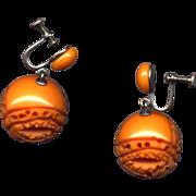 Carved Dark Caramel Bakelite Drop Earrings