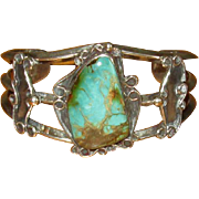 Signed Navaho Silver & Turquoise Cuff Bracelet