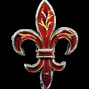 Sterling Red Enamel Fleur-de-Lis Watch Pin