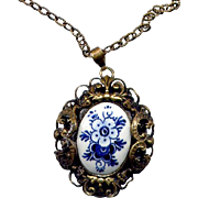 SALE Costume Fancy Brass Delft Pendant Necklace