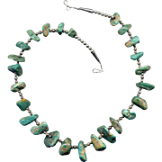 Native American Turquoise & Silver Nugget Necklace