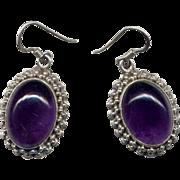 Sterling Silver Amethyst Drop Earrings