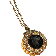 Victorian Gold-Filled Fob Locket with Onyx Intaglio