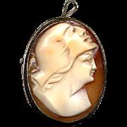 800 Silver Italian Double Face Cameo Pin or Pendant