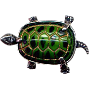 SALE PENDING Vintage Beau Sterling and Enamel Turtle Pin
