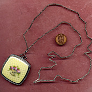 SALE Sterling & Enamel Compact with Sterling Chain
