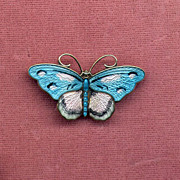 SOLD Norway Sterling Pink and Blue Enamel Butterfly Pin
