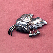 SALE Denmark Sterling Modernist Leaf and Berry Pin