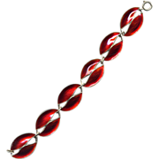 SALE Denmark Sterling and Red Enamel Leaf Bracelet