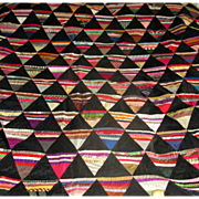 "SALE Hand-Pieced Silk and Velvet ""Pyramids"" Quilt Top"