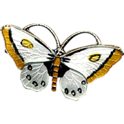 SOLD Norway Sterling Black, White, and Yellow Butterfly Pin