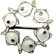 SALE Denmark Sterling and White Enamel Fish Pin