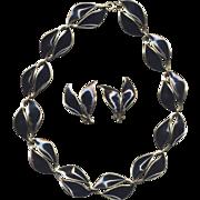 SALE Norway Sterling Black Enamel D-A Necklace with Earrings
