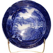 "English Flow Blue Pottery ""Jenny Lind"" Serving Bowl"