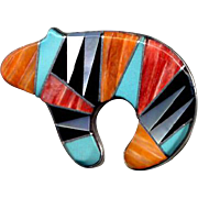 Sterling Silver Zuni Inlay Bear Pin or Pendant