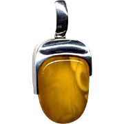 Sterling Silver and Butterscotch Amber Pendant