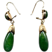 14K Dark Green Jade Drop Earrings