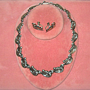 SOLD Mexican Sterling Link Necklace and Earring Set