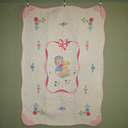 SALE PENDING Vintage Hand-Made Crib Quilt with Appliques