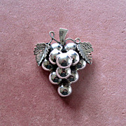 SALE Mexican Sterling Grape Cluster Pin or Pendant