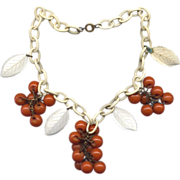 Celluloid Link Necklace with Caramel Bakelite Dangles