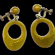 Chartreuse Yellow-Green Bakelite Drop Earrings