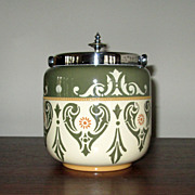 """SALE English Hand-Decorated Pottery """"Lovique"""" Biscuit Jar"""