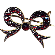 SALE Victorian Bow Pin with Bohemian Garnets