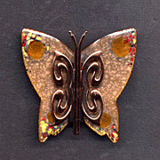 SALE Matisse Copper Enamel Butterfly Pin