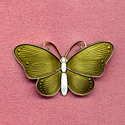 SALE Green & White Norway Sterling Enamel Butterfly Pin