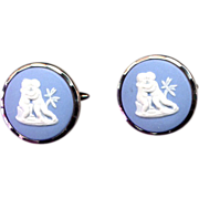 Costume Cufflinks with Blue Wedgwood Ceramic Cameos