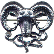 Cini Sterling Zodiac-Sign Aries Ram Pin