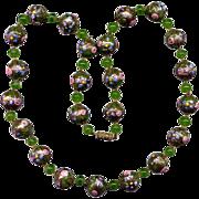 SALE Green Venetian Glass Bead Necklace