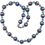 SALE Blue Venetian Glass Bead Necklace