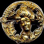 Art Nouveau Gibson Girl Gold Overlay Watch Pin