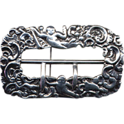 SALE Cast Sterling Repousse Buckle Brooch with Cherubs