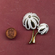 "SALE Gold-Filled and White Enamel Palm Tree Pin from ""Monet"""