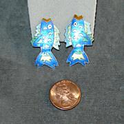 SALE Sterling Silver  Blue Enamel Fish Post Earrings