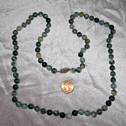 "SALE 30"" Moss Agate Bead Necklace with Sterling Silver Clasp"