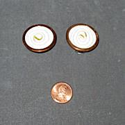 "SALE Copper Clip Earrings with White Enamel Marked ""Matisse Renoir"""