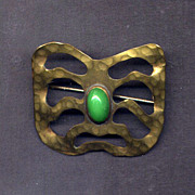 SALE Hammered Edwardian Brass Sash Pin with Green Stone