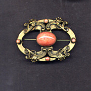 SALE Brass Sash Pin with Faux Coral Stones