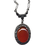 SALE Sterling & Carnelian Pendant Necklace with Marcasites